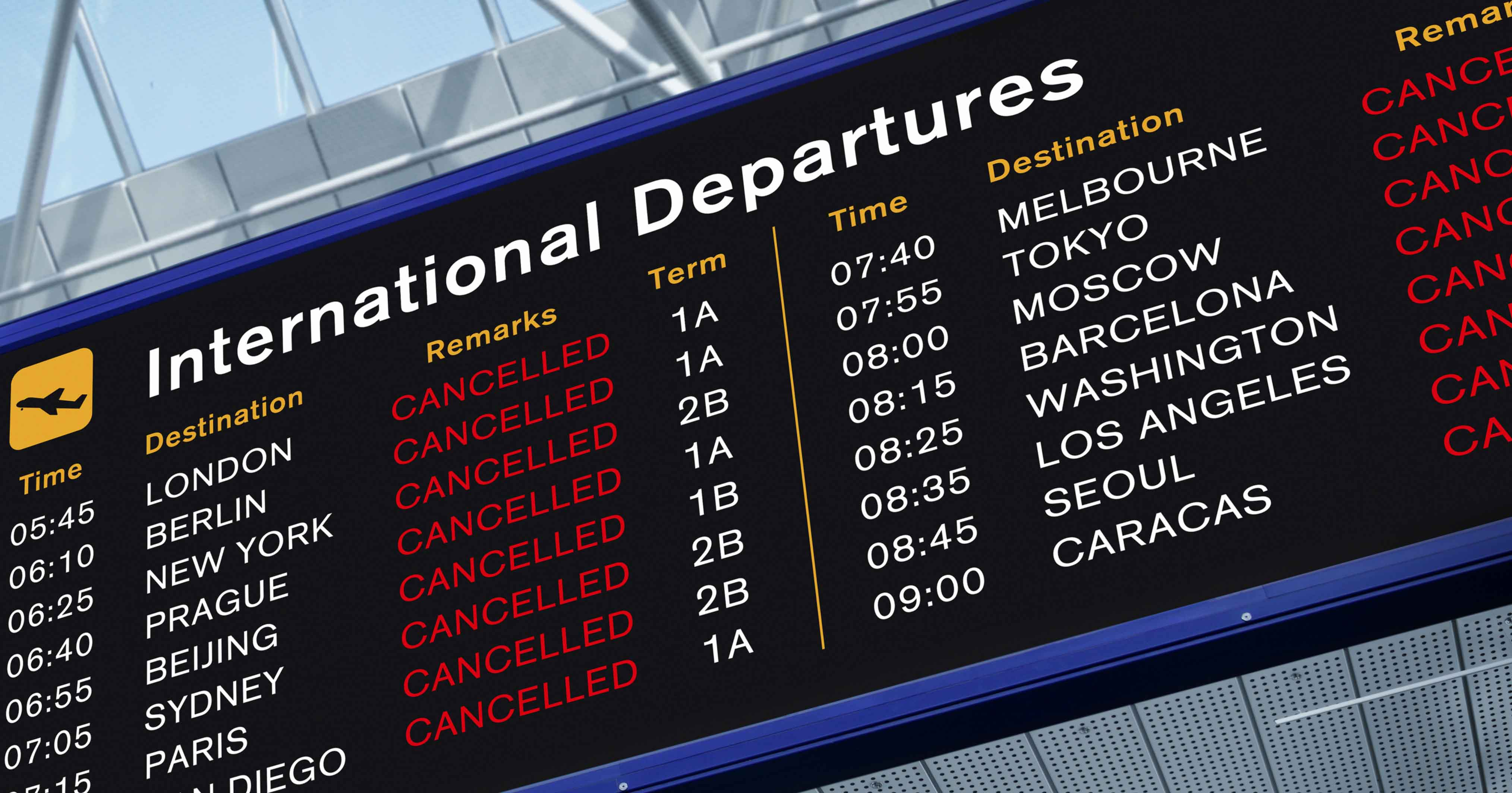 Image of Departure Boards showing cancelled flights